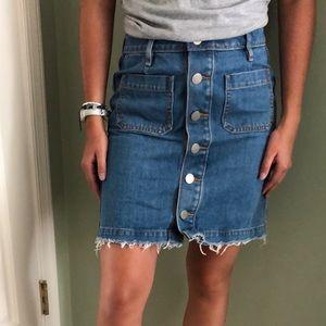 Loft Light Wash Button Front Jean Skirt